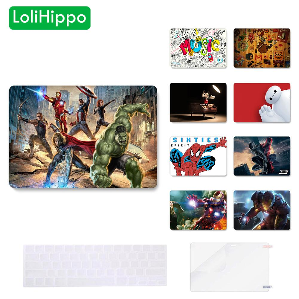 LoliHippo Animation Series Spider Iron Man Laptop Protective Case For Macbook Air Pro Retina Notebook Cover A1990 A1932 A1706