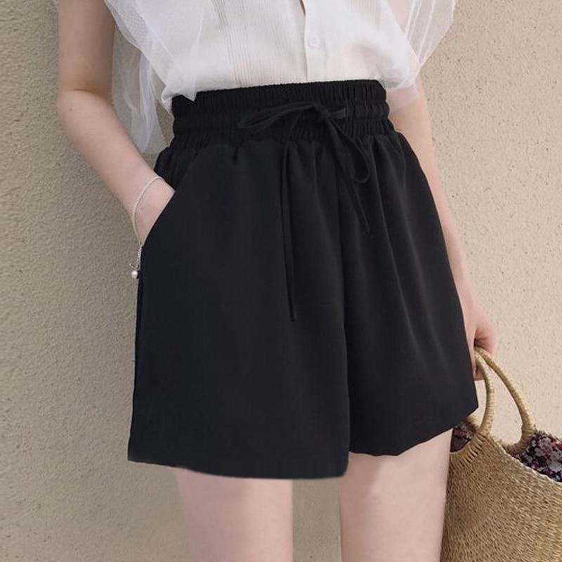 2018 Summer New Solid Black Shorts Womens High Waist Female Shorts Wide Leg Short Loose Culottes Casual Ladies Hotpants