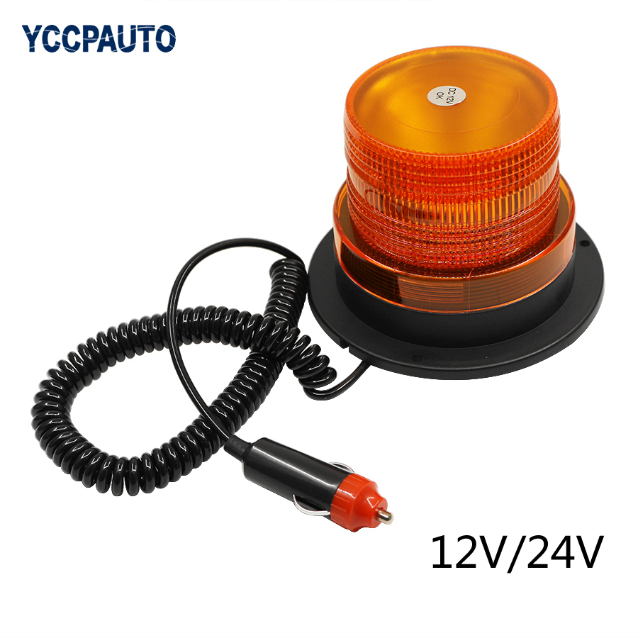 Car LED Truck Magnetic Warning Light Flash Beacon Strobe Roof Top Vehicle Police Emergency Lamp Flashing Mode Yellow DC 12V/24V цена и фото
