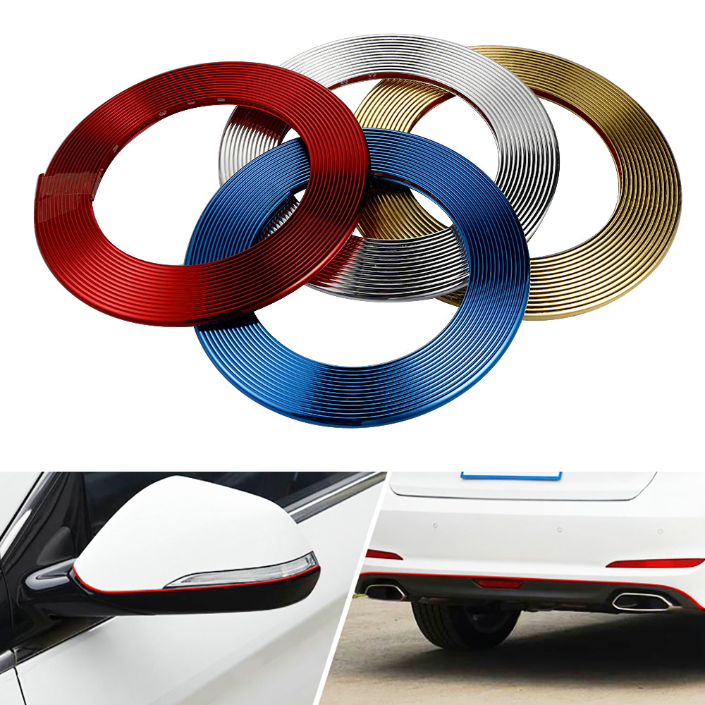 8M Car Decorative Strip Auto Wheel Protector Hub Sticker Universal Car Grille Rearview Mirror Decoration Strip Car Accessories