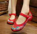Plus Size 41 Fashion Women's Shoes Sunflowers Flats Casual Embroidery Shoes Mary Janes Soft Sole Cloth Walking Shoes Red Blue