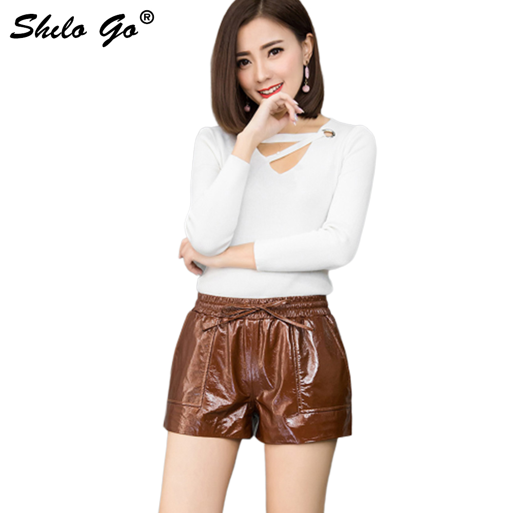 Leather Shorts Womens Spring Fashion Sheepskin Genuine Leather Shorts Bow Stretch High Wasit Side Pocket Concise Shorts