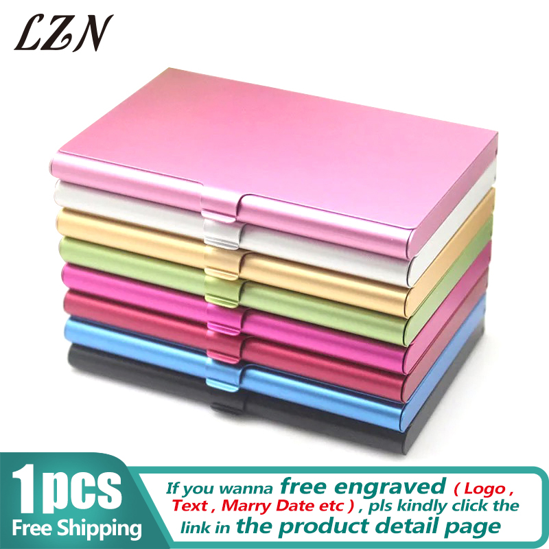 LZN Creative Business Card Case Aluminum Holder Metal Box Cover Credit Men Business Card Holder Card Metal Wallet Free Shipping