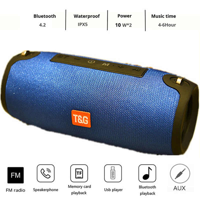 Bluetooth Speaker Speaker Nirkabel Portable Sound Unit 20W Stereo Bass Subwoofer FM Radio BOOMBOX AUX USB PC Suara