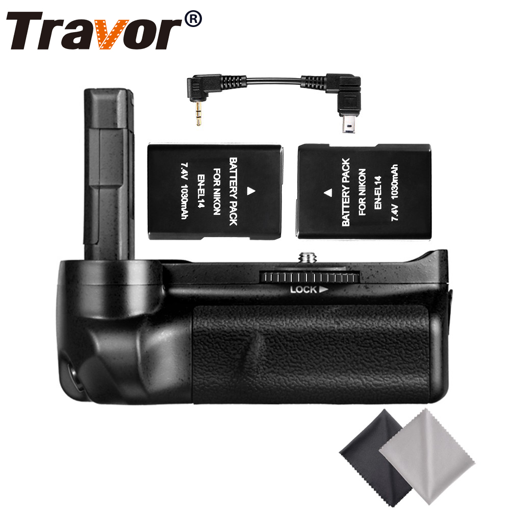Travor Battery Grip Holder for Nikon D3100 D3200 D3300 DSLR camera with 2pcs EN-EL14 battery and 2pcs Microfiber Cleaning Cloth new vertical battery grip pack 2x en el14 decoded battery for nikon d3100 d3200 d3300 camera 2 step shutter free shipping