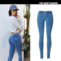 New European and American popular peach hip pants with super elastic and comfortable fitness Master low waist jeans