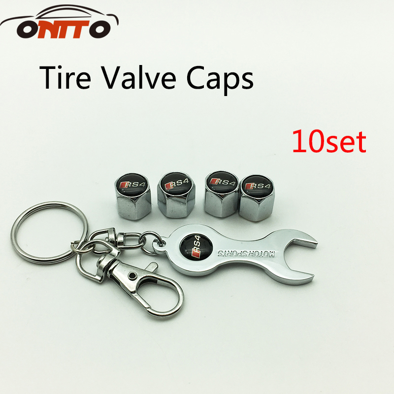 10 set RS4 logo Car Wheel Tire Valve Cap Motorcycle Auto Metal Tyre Caps for A5 A6 A7 A8 Q1 Q3 Q5 Q7 TT R8 S RS