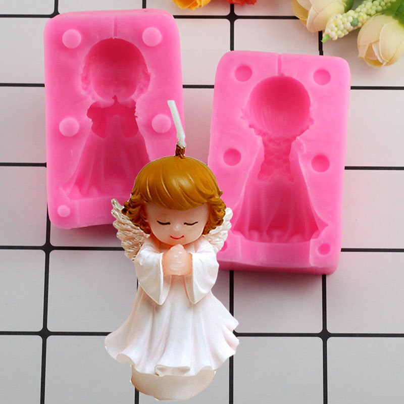 Mujiang 3D Angel Girl Soap Silicone Mold Resin Clay Candle Molds Baby Party Fondant Cake Decorating Tools Candy Chocolate Moulds