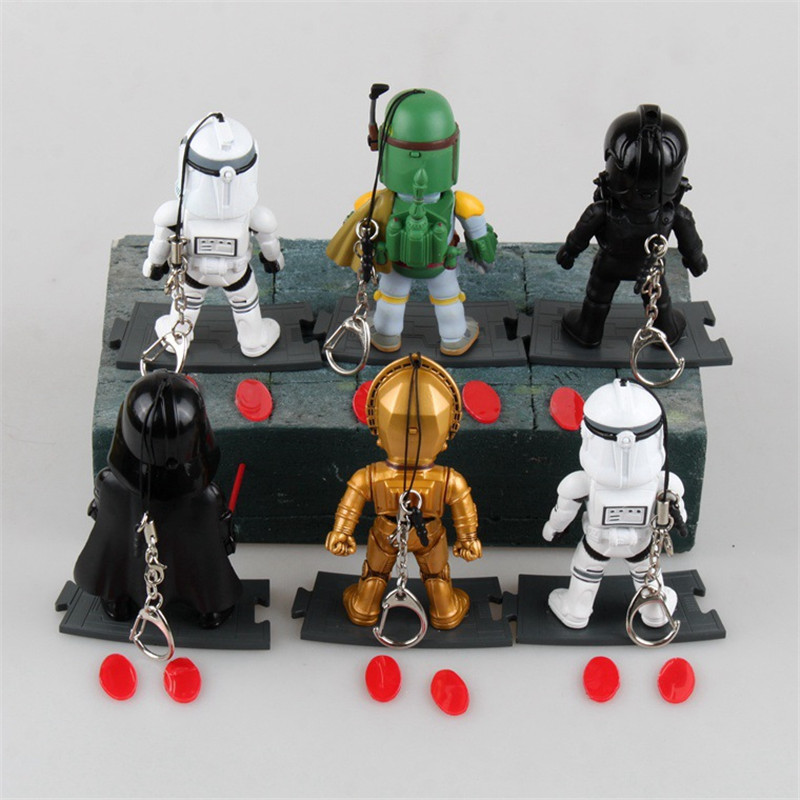 WVW 6pcs/Set Movie Star Master Yoda Darth Vader DV Storm Trooper Model PVC Toy Action Figure Decoration For Collection Gift цена