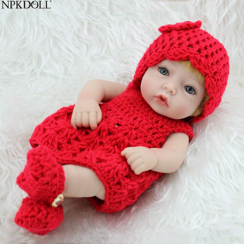 NPKDOLL Reborn Silicone Body Baby Alive Doll For Girls Cute 10 Inch Princess Dress Handmade Lifelike New Born Toys For Kids