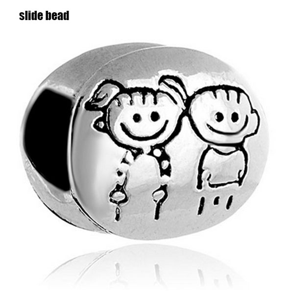Slide beads NEW son and daughter family charm beads. Fits Pandora Charms Bracelet and necklaces