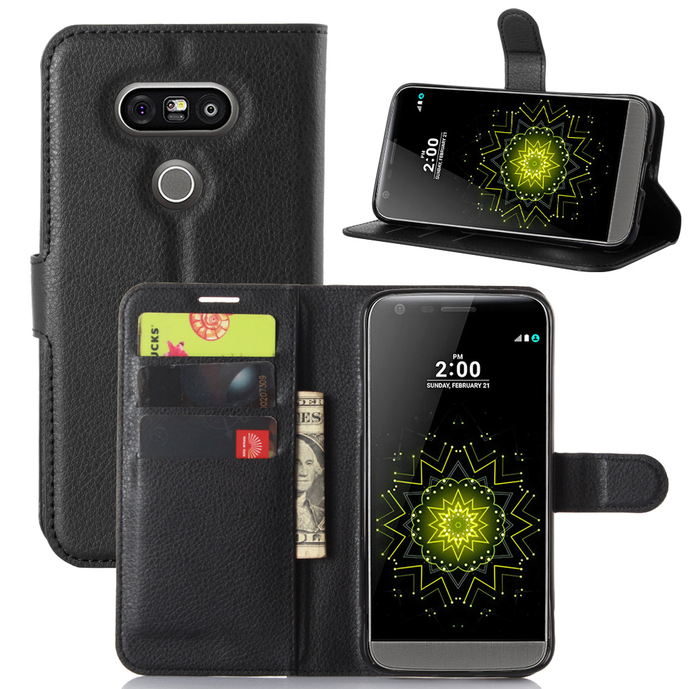the best attitude 4e412 3f575 for LG G5 Case Wallet Card Stent Cases Lichee Pattern Flip Leather Covers  Protect Cover Case black for LG 5 LG5 H830 LG830
