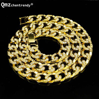 Top Quality Hip Hop Bling Full Iced Out Gold Silver Men Chain Necklaces MIAMI Cuban Cuba Link Chain Necklace Women Punk Jewelry