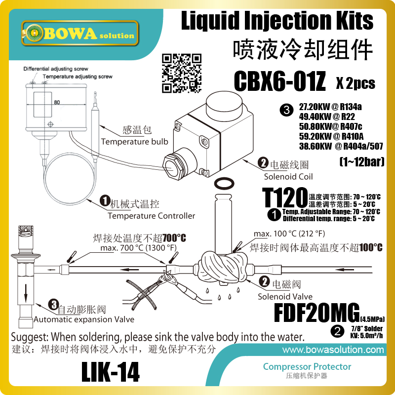 Liquid injection Kits provide perfect cooling solution for high and middle temperature screw compressors in water chillers liquid injection kits are used in two stage refrigeration plant to control liquid injection into the intercooler