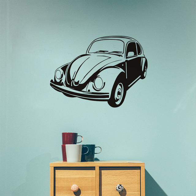 Retro car vinyl wall sticker vintage wall art classic car decals nursery boy bedroom removable wallpaper