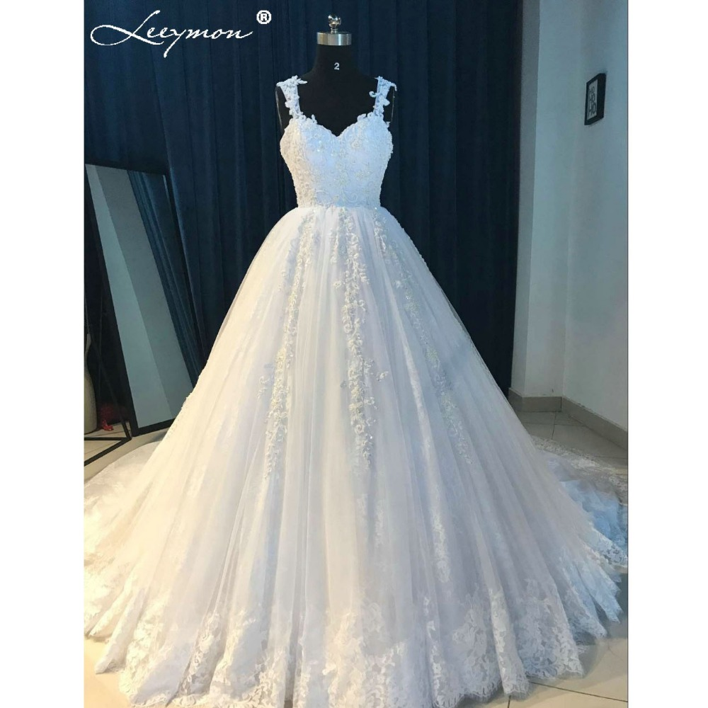 Romantic White Lace Princess Beaded Wedding Dresses 2018