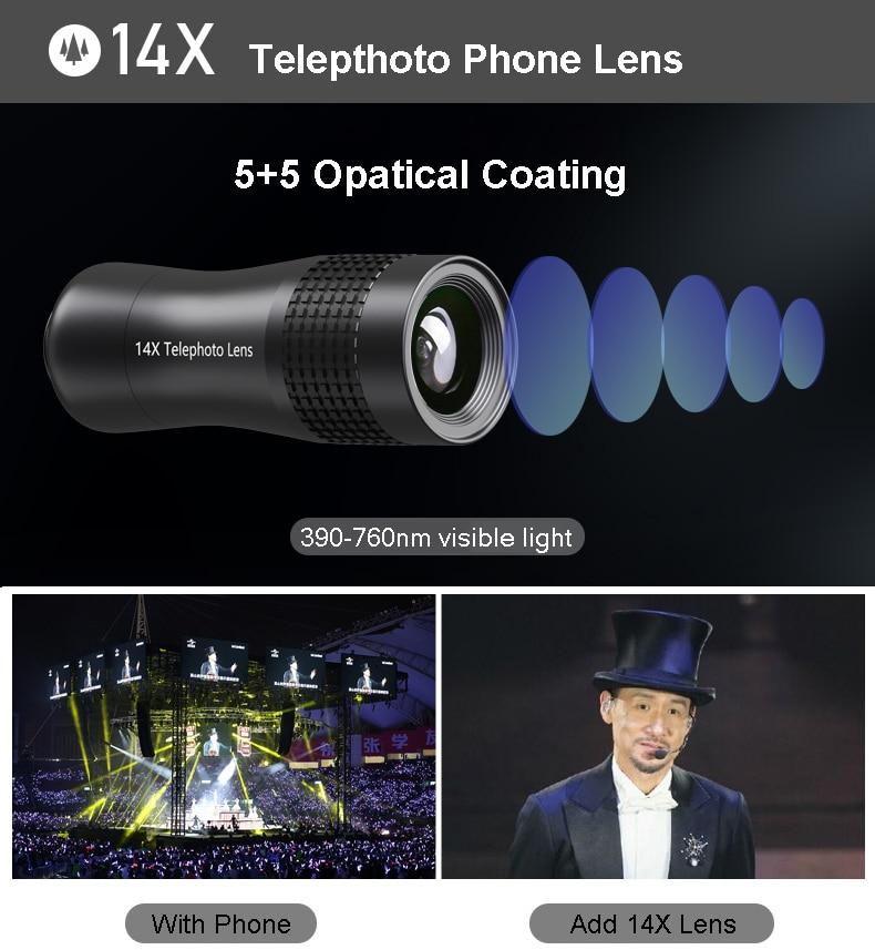 Набор объективов для камеры телефона: макрообъектив 14X телеобъектив широкоугольный объектив рыбий глаз для samsung S10 S10E S9 PLUS NOTE 9 для Xiaomi - 2