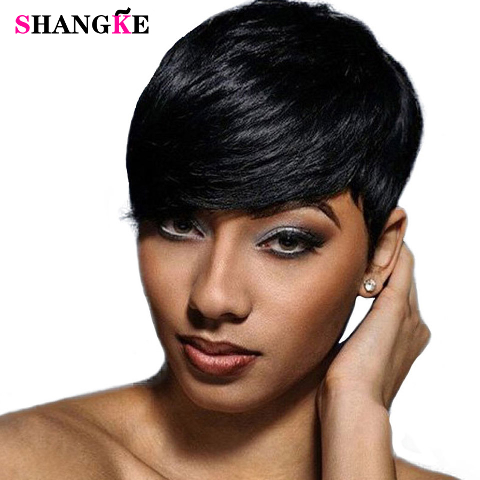 SHANGKE Short Black Wigs for Women Heat Resistant Synthetic Pixie Cut Wig Costume Cosplay Party Hair Wig