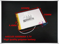 3 7V 6000mAH 4493105 Polymer Lithium Ion Li Ion Battery For Tablet Pc POWER Mobile Bank