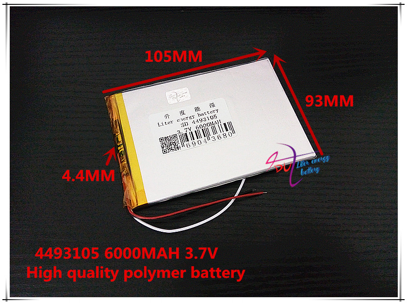 3 line 37V 6000mAH 4493105 Polymer lithium ion  Li-ion battery for tablet pc POWER mobile bank P85 VI40 A86