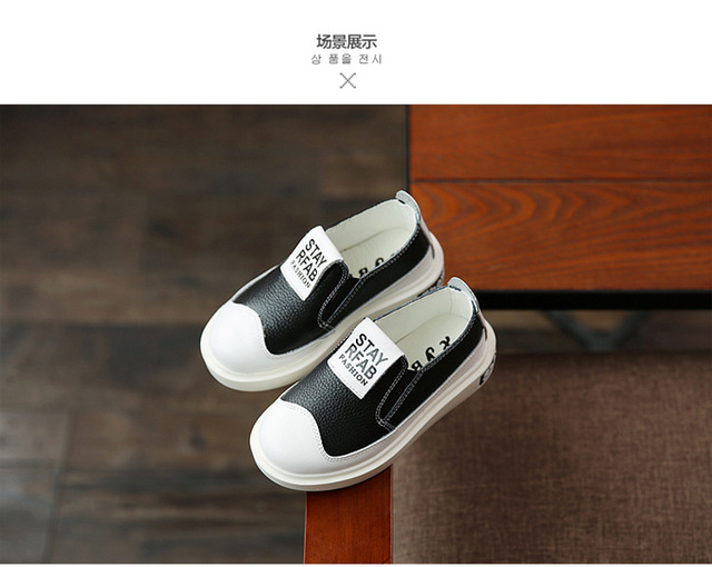2016 Spring Children Flat Solid Kids Genuine Leather Big Boys Cool Casual Shoes Girls Slip On Breathable Sneakers