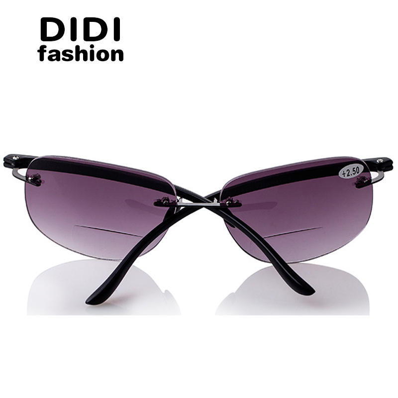 aff469c0e1 DIDI Bifocal Reading Sun Glasses Presbyopic Men Rimless Magnifier Frame  Glasses Driving Goggles Diopter 100 To