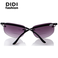 DIDI Bifocal Reading Sun Glasses Presbyopic Unisex Rimless Glasses Magnifier Frame Driving Shades Diopter 100 To