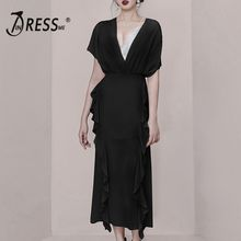 INDRESSME Summer Style Solid Black V-neck Short Sleeve Top High Waist Ruffles Midi Skirt 2019 Fashion Women Set white solid color high neck high waist midi dresses