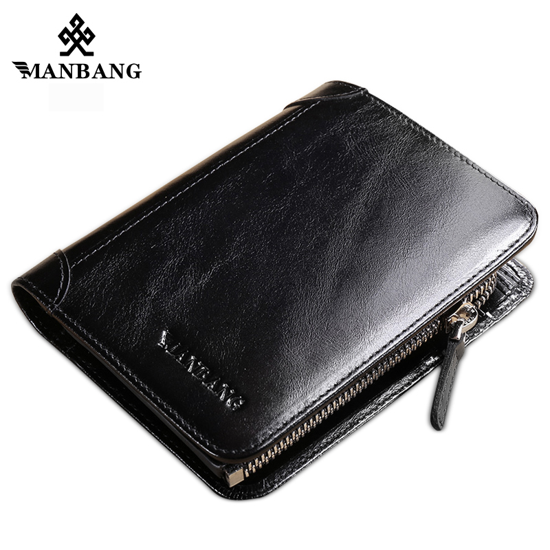 ManBang Hot High Quality Genuine Leather Wallet Men Wallets Fashion Organizer Purse Billfold Zipper Coin Purse Pocket Slim Bag star wars purse high quality leather