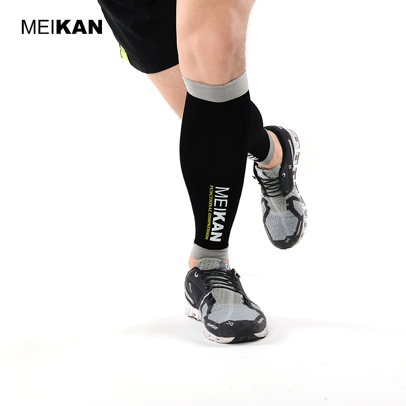MEIKAN Brand Professional Compression Running Warmers Calf Sleeves Sports Safety Gear for Marathon Cross-Country Cycling