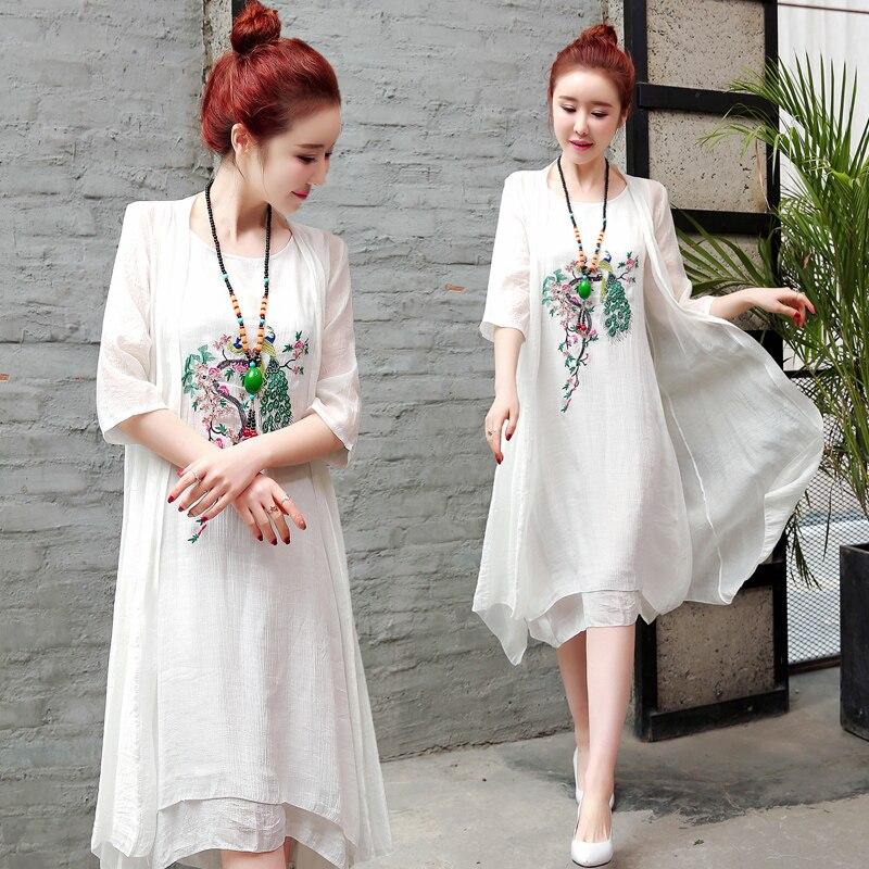 2019 New Arrival Soft Cotton Linen Summer Dress Fashion Embroidery Phoenix Loose Two Piece Set Dress Suits Women Casual Dress 3