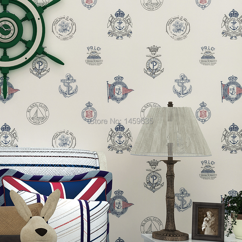 Of children room environmental protection non-woven wallpaper Mediterranean Sea icon male girl study bedroom wallpaper beibehang children room non woven wallpaper wallpaper blue stripes car environmental health boy girl study bedroom wallpaper
