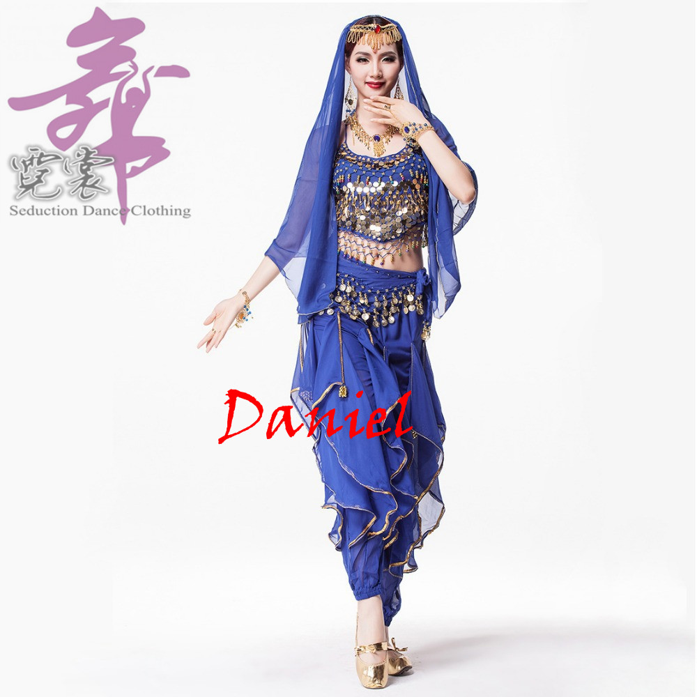 Sari indien Femmes tenue de danse 4-pièce Costume Réglé Indien Vêtements De Danse Du Ventre costumes de danse