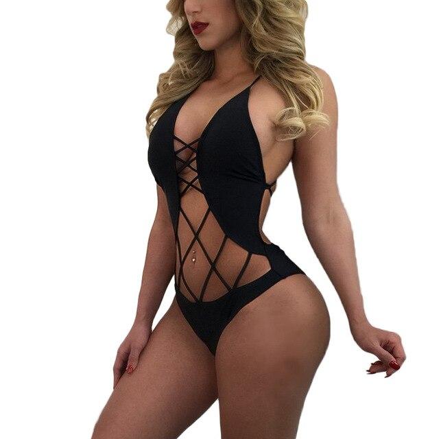 Sexy Monokini traje de baño U cuello Strappy Cut Out impreso gris Beach Wear para mujeres 5KG1t