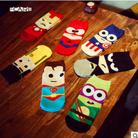 14PCS=7pairs 42, 43, 44 MARVEL Iron Batman Superman SpiderMan Captain America cartoon ankle funny socks calcetines chaussette