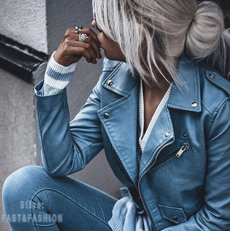2019 New Fashion Women Autunm Winter High Quality Faux Leather Jackets Lady Blue Motorcycle Biker Outerwear Coats Streetwear