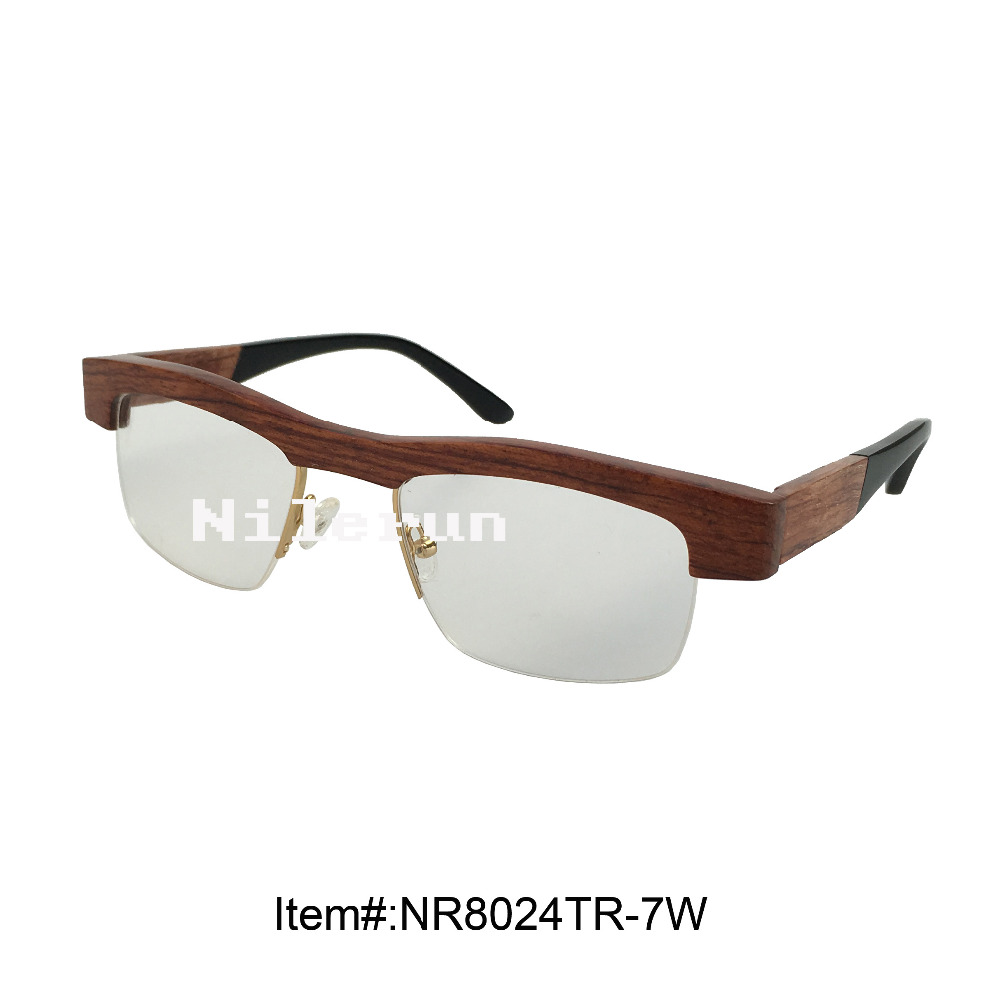 high quality gold metal rim red wood optical glasses with acetate temples