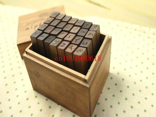Free Shipping Handwriting Alphabet Stamp Set With Wooden Box DIY Funny Work Uppercase Lowercase Stamps 2800pcs 28pcs In From Home Garden On