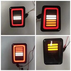 Image 3 - LED זנב אורות עשן עדשה עבור ג יפ רנגלר 2007 2017 JK JKU עם לשבור לגבות אור הפוך הפעל חניה אות מנורת הרכבה