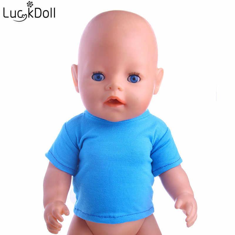 LUCKDOLL สีฟ้าเสื้อยืด Fit อเมริกัน 18 นิ้วตุ๊กตาเด็ก 43 ซม.อุปกรณ์เสื้อผ้า,ของเล่น,รุ่น, วันเกิดของขวัญ