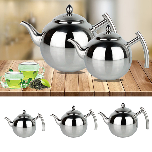 Stainless Steel Teapot Coffee Tea Kettle Loose Leaf Teapot with Infuser 1L 1.5L 2L 4