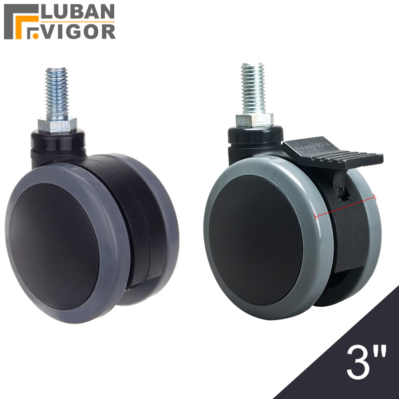 3 inch,gray Medical casters/wheels,screw M12x25mm,double PU wheel,with brake or no,Mute Wearable,For Medical equipment