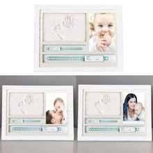 Newborn Hand and Foot Prints Print Mud Photo Frame One Year Old Baby Infants Gifts Commemorative Table Decoration Frames(China)