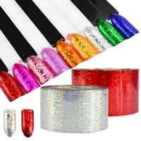 100m Fashion Cat Eye Holographic Foils Sticker for Nails Laser Starry Glitter Nail Art Transfer Foils DIY Beauty Roll CH110