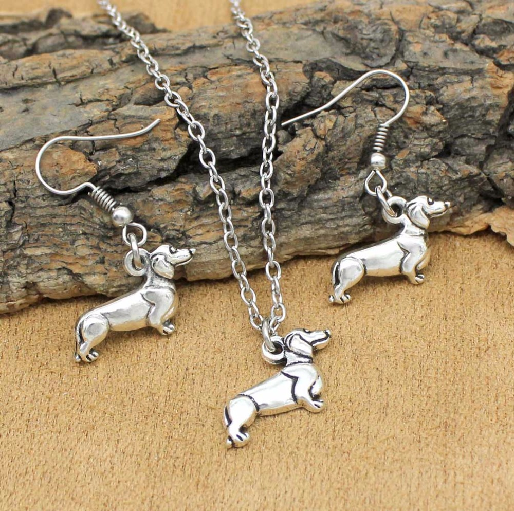 Women Jewelry Set Dachshund Dog Drop Earrings Necklace Sets For Women Girls Party Gift