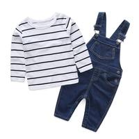 Одежда в полоску для маленьких мальчиков и мам футболка с длинными рукавами для новорожденных + джинсовые комбинезоны одежда для новорожде...