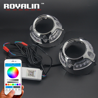 ROYALIN RGB LED Angel Eyes Shrouds Mobile Phone App Remote Control DRL For Porsche Bi Xenon Lens Masks Daytime Running Light