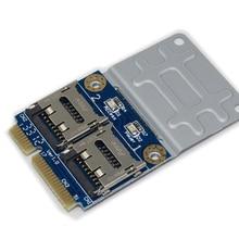 2 SSD HDD для ноутбука двойной Micro SD SDHC SDXC TF для мини PCIe кард-ридер mpcie в 2 Mini-SDCARD mini pci-e адаптер