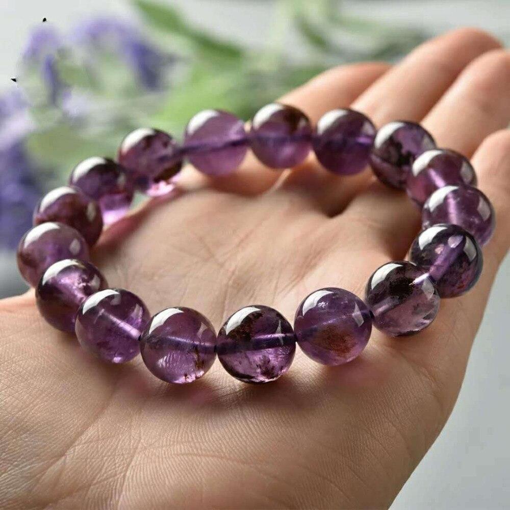 Natural Purple Phantom Quartz Cacoxenite 10mm Crystal Gemstone Round Bead Stretch Woman Bracelet AAAAA (2)