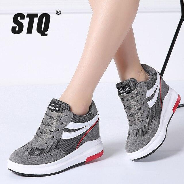 Stq 2019 겨울 여성 부츠 겨울 캐주얼 브랜드 따뜻한 높이 증가 신발 여성 가죽 스웨이드 플랫 발목 부츠 여성 tf609